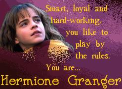 Hermione . . . again?  I'm always Hermione!  Oh well, could be worse, I could be Goyle!